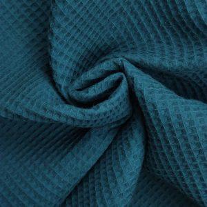 Coton uni nid d'abeille bleu canard