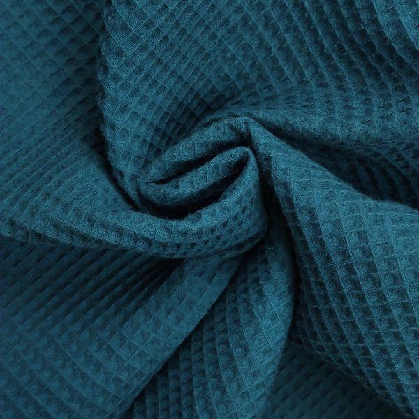 coton, nid d'abeille, bleu canard, gaufré