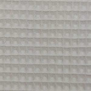 Coton uni nid d'abeille blanc