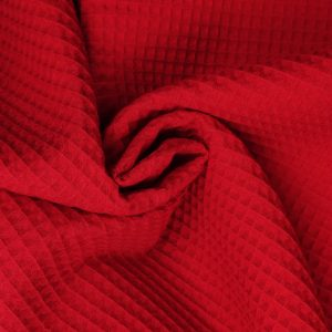 Coton uni nid d'abeille rouge