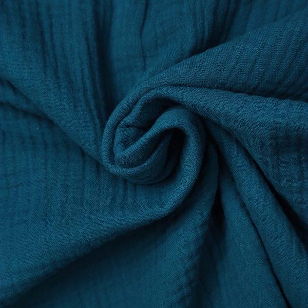 coton, double gaze, bleu paon