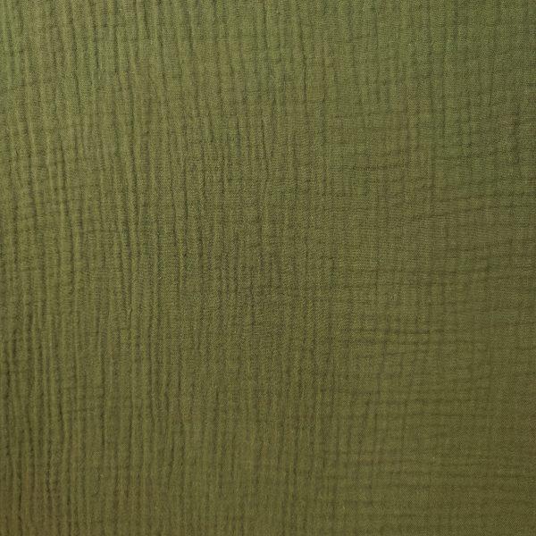 coton, double gaze, vert kaki