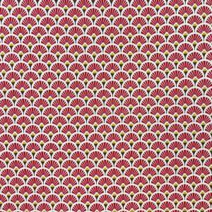 Coton imprimé éventails rouge bordeaux