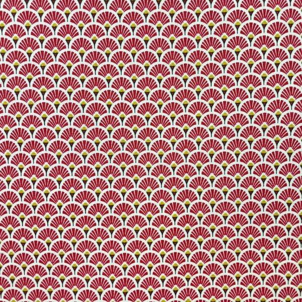 coton, éventails, doré, blanc, noir, rouge bordeaux