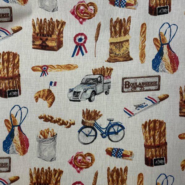 coton, baguette de pain, sac, vélo, dodoche, écru, boulangerie, bleu, blanc, rouge
