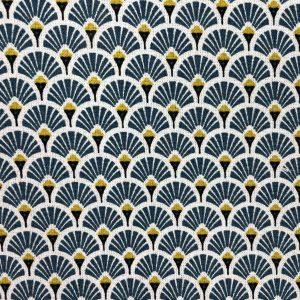 Coton imprimé éventails bleu canard