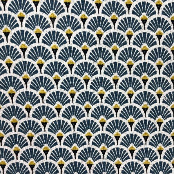 coton, éventails, doré, blanc, noir, bleu canard