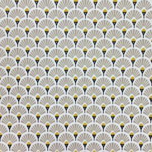 Coton imprimé éventails taupe