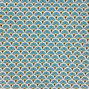 Coton imprimé éventails bleu turquoise