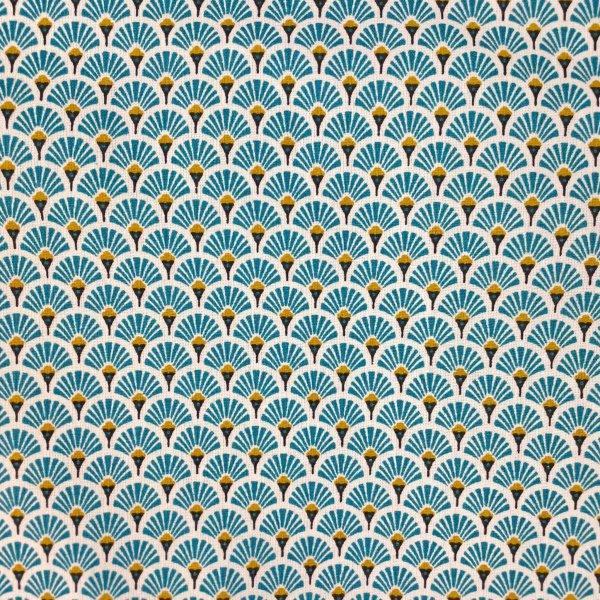 coton, éventails, doré, blanc, noir, bleu turquoise