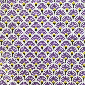 Coton imprimé éventails violets