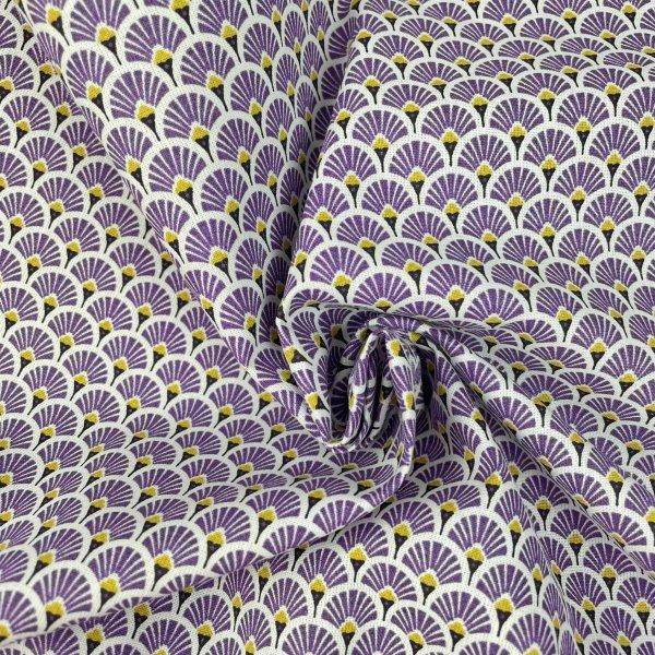 coton, éventails, doré, blanc, noir, violet