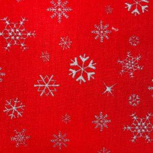 Coton rouge imprimé flocon argenté de noël