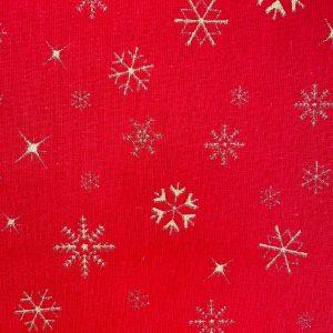 Coton rouge imprimé flocon or de noël