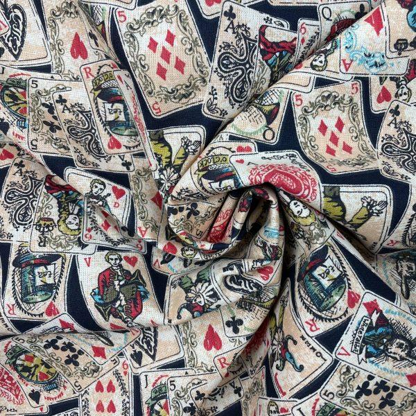 coton, jeu de cartes, dame, valet, roi, piques, coeur, tréfles, noir, écru, rouge, lapin, horloge
