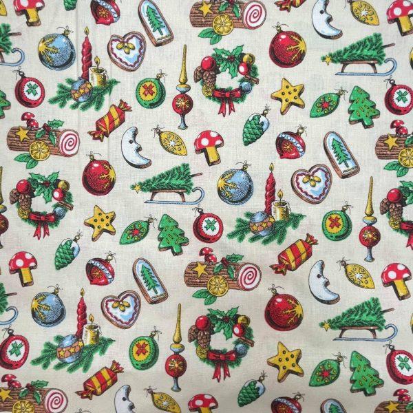 coton, noël, luge, lune, boules de décorations, buche, blanc, beige, biscuit, marron, jaune, coeur
