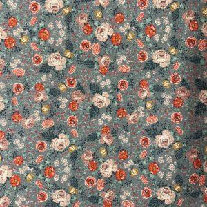 Coton imprimée de roses fleuris