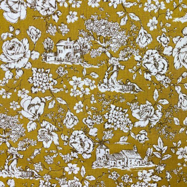 coton, moutarde, façon tolie de jouy, blanc, fleurs, maisons