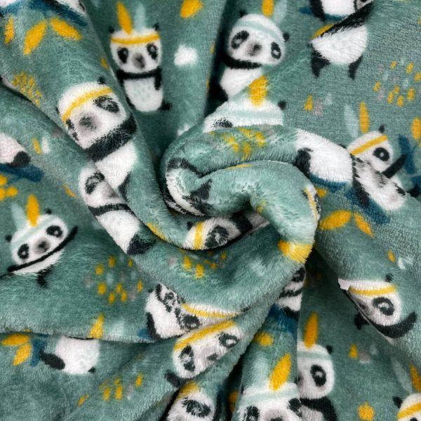 doudou, double face, reversible, panda, bébé panda, maman panda, patte de panda, accessoires indiens, vert, jaune, bleu, noir, blanc, polyester, enfant, mignon, adulte