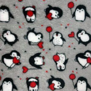 Doudou double face imprimé pingouin