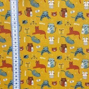 Coton imprimé chats fond moutarde