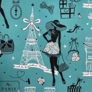 Coton bleu canard «Moi, Paris»