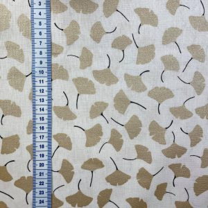 Coton fond ivoire feuilles de ginkgo dorées